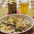 ビールにピッタリ!ストウブで真鱈、イカ、空豆の塩レモンバーター☆オーブン焼き