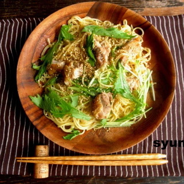 【簡単!!カフェパスタ】鶏と水菜のにんにく醤油スパゲッティ