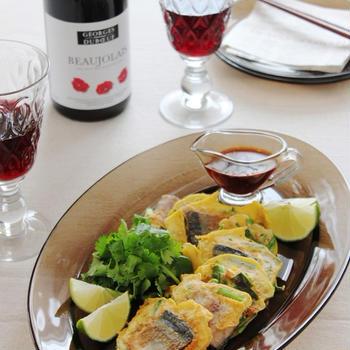 秋刀魚とにらのエスニックピカタ