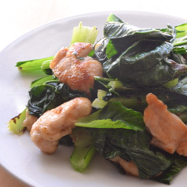 鶏ささみと小松菜の炒め物