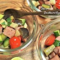 あらびきミートローフとゴロゴロ野菜の温野菜サラダ! すだちドレッシングで♪  &松茸ご飯