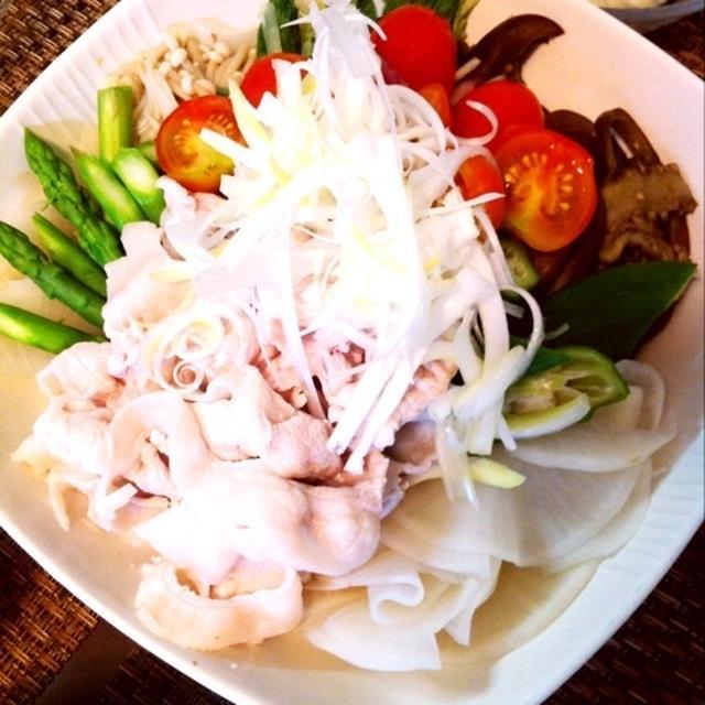 豚しゃぶ 温野菜の盛り合わせ