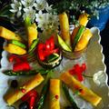 タンドリー ガドガド タコサラダ どれにする? 3種の海老とアスパラの春巻