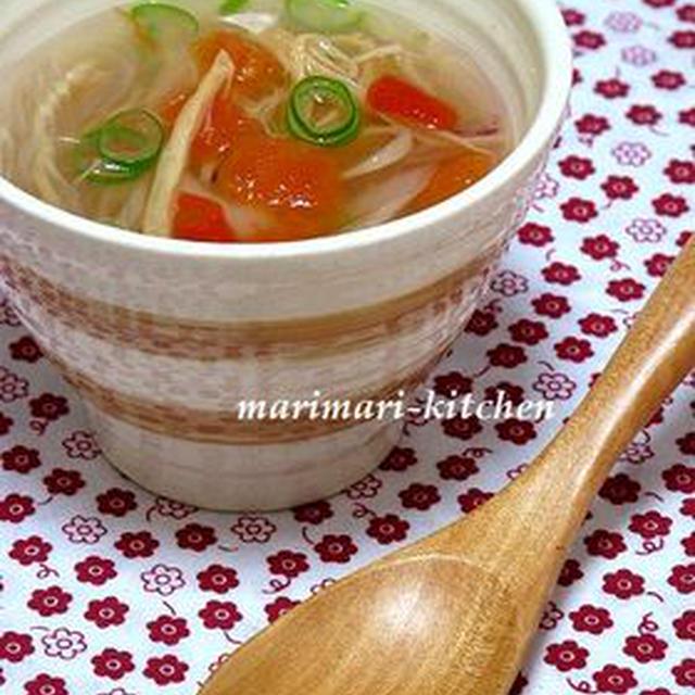 レンジで3分半!さきいかと春雨のスープ