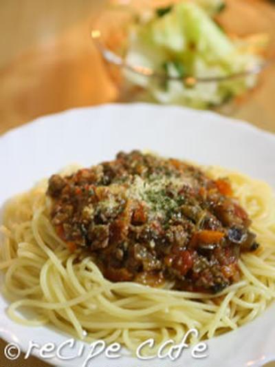 夏野菜のミートスパゲッティ