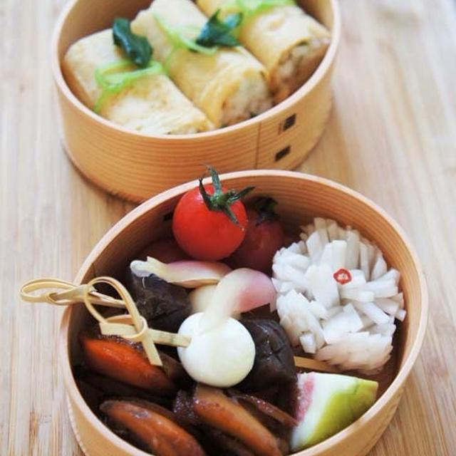 三つ葉寿司&ホタテとコンニャク醤油煮弁当