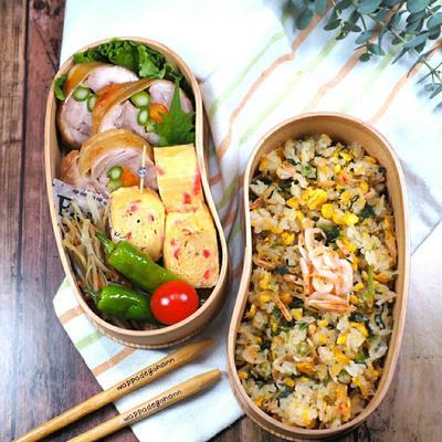 3月17日 桜エビと野沢菜の炒飯弁当 と 海老チリの晩ごはん