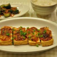 きゅうりとあみえびの炒め物&厚揚げのキムチー焼き