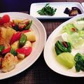 大皿にどばってもっちゃってごめんよ・・・豆腐と青梗菜のスープ煮