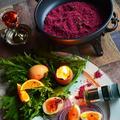 深紅のハーブ&ワイン塩 と 燻製卵とカラシ菜のサラダ 華やか自家製調味料 スパイス大使 × 豊菜JIKAN × スイスダイヤモンド