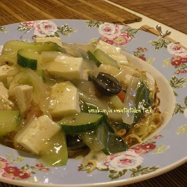 青梗菜と蒸し鶏のサラダ ~トマトマリネで~ / 餡かけ・かた焼きそば