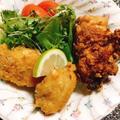 鶏のから揚げ食べ比べと銀杏入り茶わん蒸し鍋