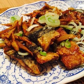 【妊活ごはん*秋刀魚と牛蒡の甘辛炒め】とコタツ