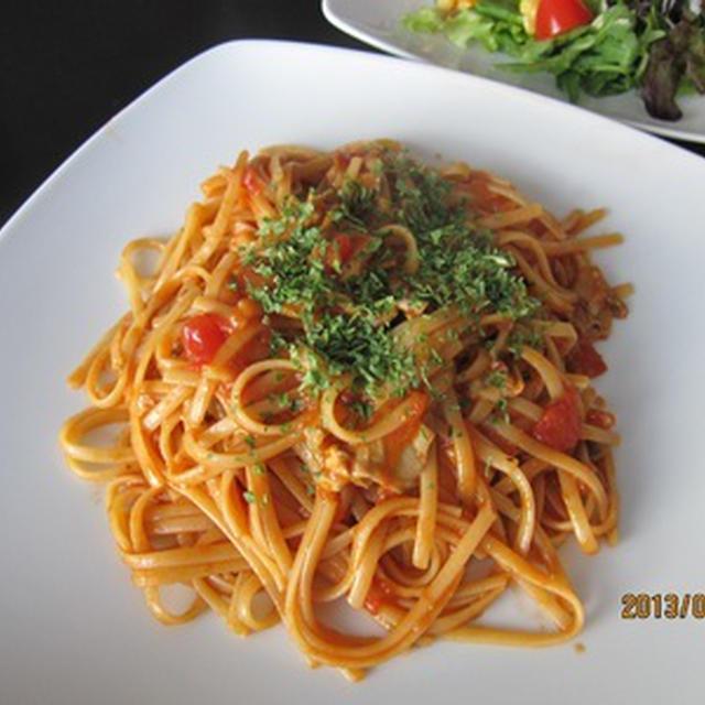 ポルチーニ茸のトマトクリームパスタ