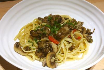 牡蠣のオイル漬けを使ってペペロンチーノレシピ