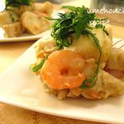 里芋。れんこん。海老の白味噌とキムチ梅の和え物。°