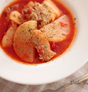 ピリ辛☆豚バラ肉と大根のトマト煮