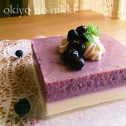 ブルーベリーとお豆腐とヨーグルトの2層ゼリー。