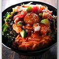 メシ通『魚介を使った簡単レシピ 』☆ お刺身の切り落としとナムルセットで彩りビビンバ丼!