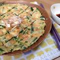 ニラのチヂミと柚子胡椒ポン酢タレ