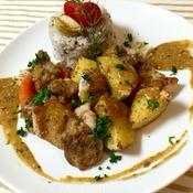 若鶏とジャガイモのプロヴァンス風ロースト 〜カレー風味のヨーグルトソース〜