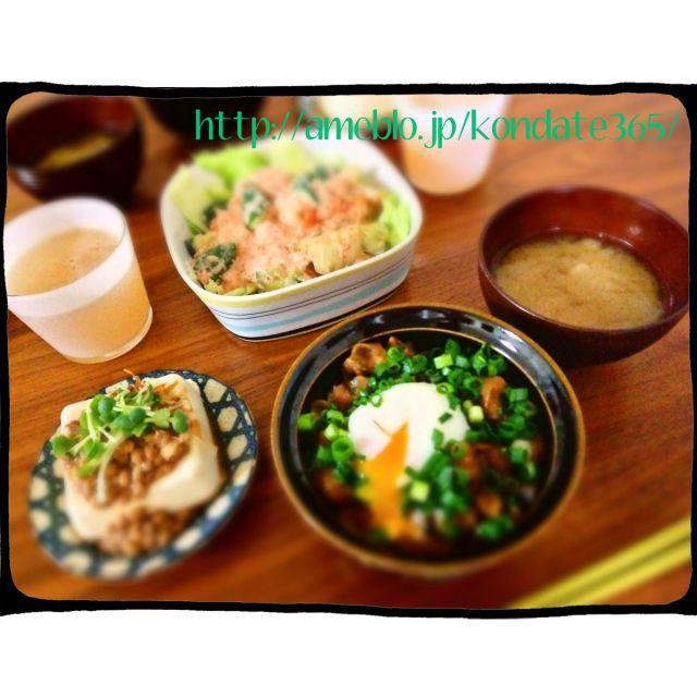 【献立188】鶏軟骨のぼっかけ丼&キュウリとキムチのツナマヨサラダ