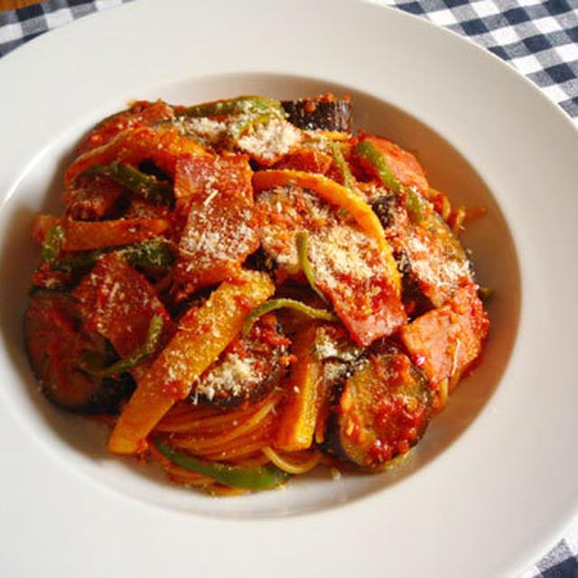 夏野菜のトマトスパゲッティ