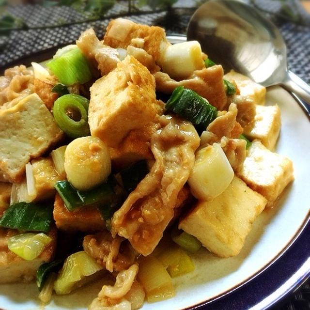 ニンニク味噌の風味でご飯が進む豚肉と厚揚げの炒め煮と雪結構積もってるじゃん(*_*)