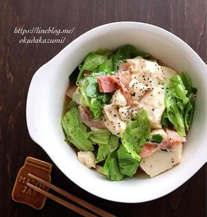 【レンチン3分30秒であと1品】キャベツとベーコンの塩だれ豆腐
