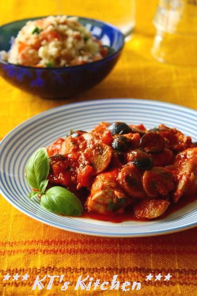 鶏肉と黒オリーブのトマト煮込み