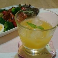 ピーチツリーと生搾りオレンジ果汁のカクテル