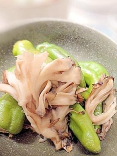 小さな野菜のおかず☆万願寺唐辛子しと舞茸の網焼き