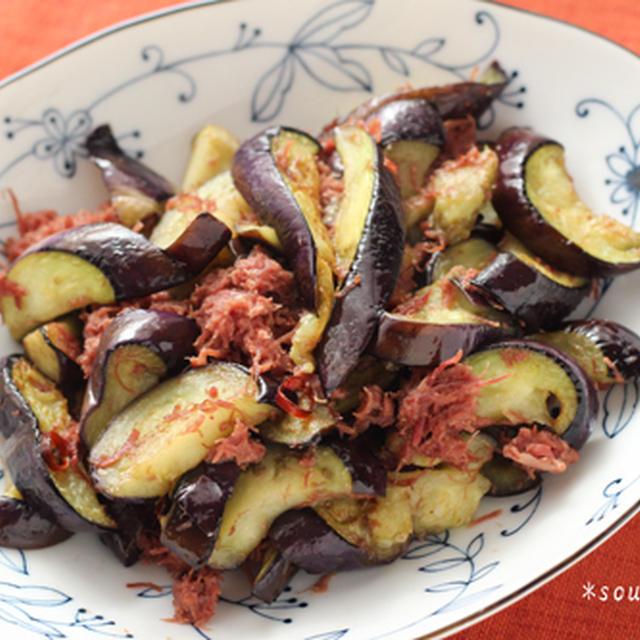 主菜*茄子とコンビーフの塩炒め