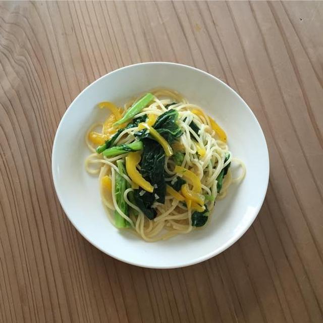 菜の花とパプリカのスパゲッティー