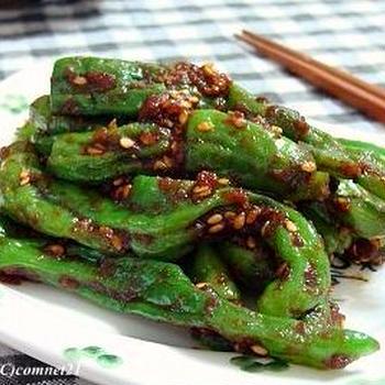 電子レンジで5分♪韓国風しし唐辛子の蒸し和え(コチュムッチム)のレシピ