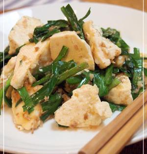 豆腐とニラのチャンプル