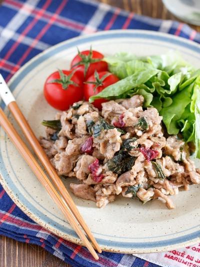 夏の作り置きやお弁当に♪お肉がやわらか♪『豚こまの梅しそ生姜焼き』