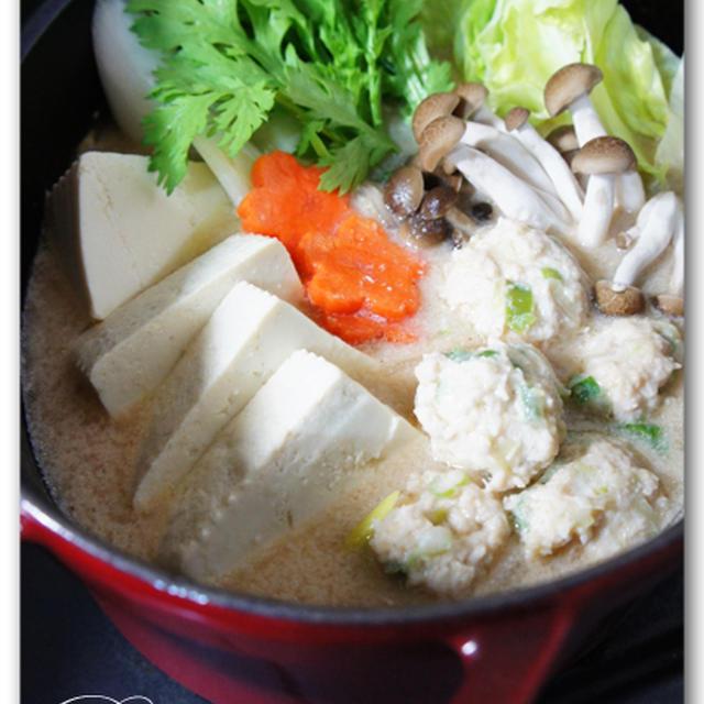 コラーゲン鶏団子の豆乳ごま鍋