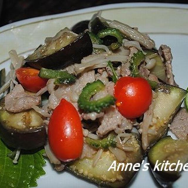 ゴーヤと茄子・えのき・豚肉のナンプラー炒めなど
