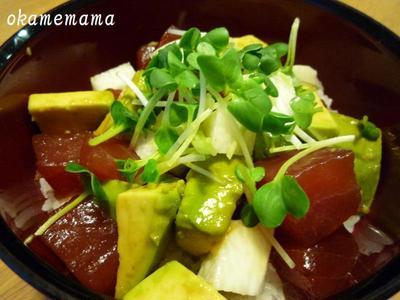 マグロ・アボガド・長いも丼☆鶏胸肉とインゲンのサラダ