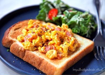 ♡卵1個de大満足♡カルボ炒めのっけトースト♡【#食パン#簡単#朝食#アレンジトースト】