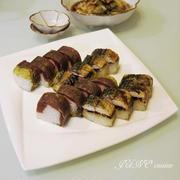 ホームパーティーや持ち寄りパーティーなどにオススメ♪☆おぼろ昆布巻き焼き鯖寿司と漬けまぐろ寿司☆