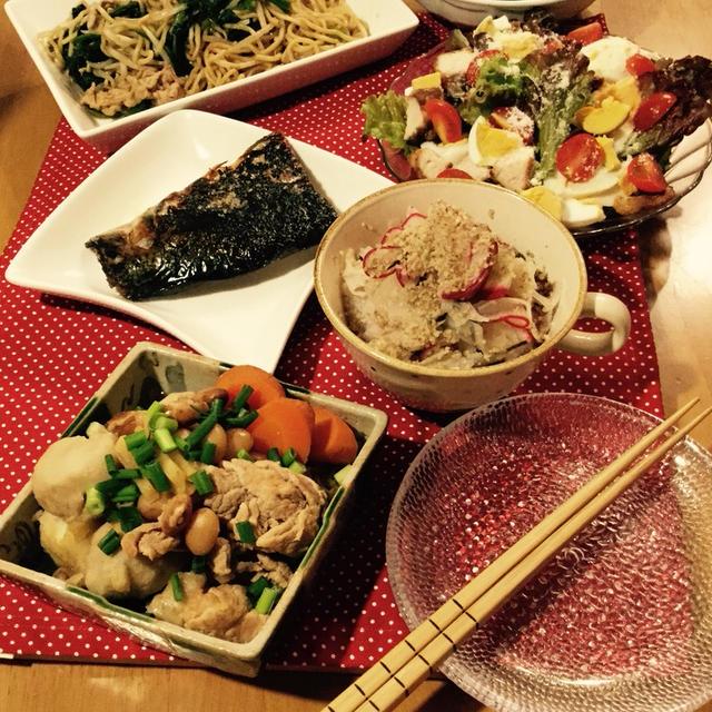 里芋ととら豆のホッコリほくほく煮物とレンコンとレディサラダの酢の物〜すりくるみ和えと、お礼。