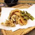アメリカで育てた 四角豆の天ぷらで〜天ぷらうどん