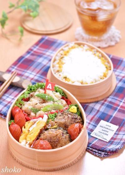 ゴーヤの肉詰めとアスパラと明太子のじゃがバターのお弁当