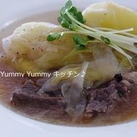カレー用牛肉deクローブ香る☆じゃがいもとネギの牛スープ♪