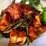 厚揚げと空芯菜の甜麺醤炒め