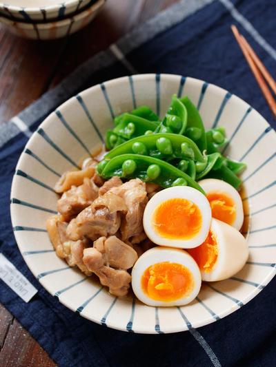 ゆで卵と鶏肉の甘辛煮【#簡単 #節約 #作り置き #お弁当 #煮るだけ #献立 #買い物リスト #主菜】