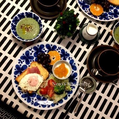 里芋とほうれん草の豆乳ポタージュ・生ハムと目玉焼きのチーズトースト♪