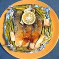 トースターで簡単、秋鮭とアスパラとエリンギの甘辛味噌焼き